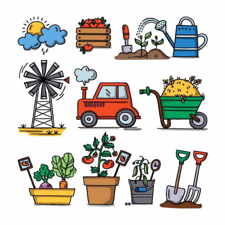 手绘卡通风格农场风车浇水拖拉机等种植工具png图片免抠素材