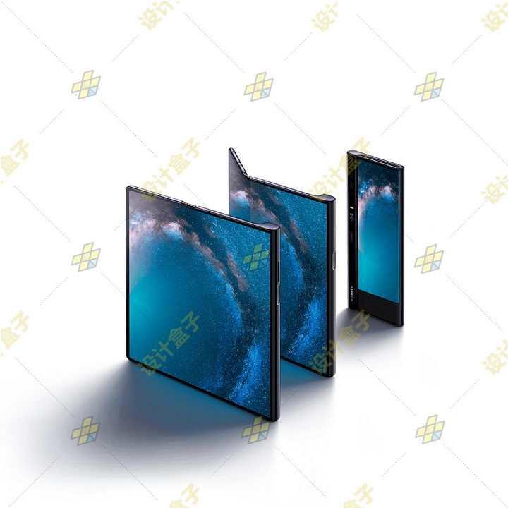 三种状态的华为Mate Xs折叠屏手机png图片免抠素材