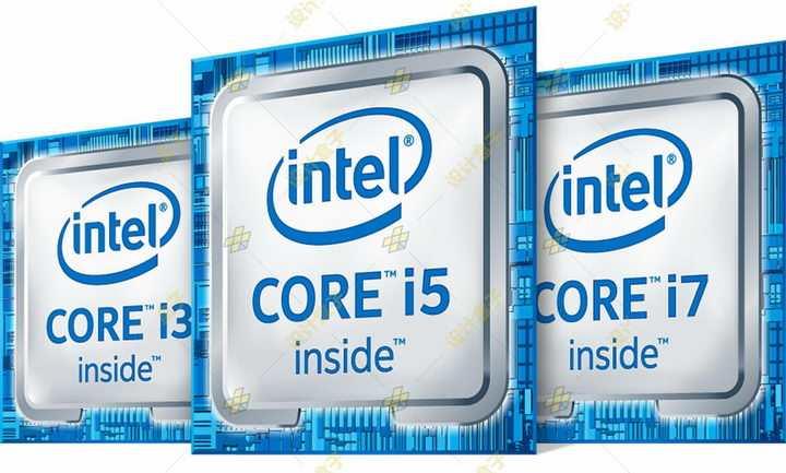 英特尔酷睿i3/i5/i7处理器立体标志侧视图png图片免抠素材