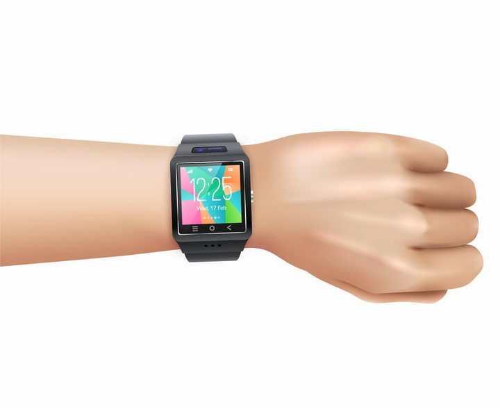 展示手腕上戴着的苹果智能手表iWatch png图片免抠矢量素材