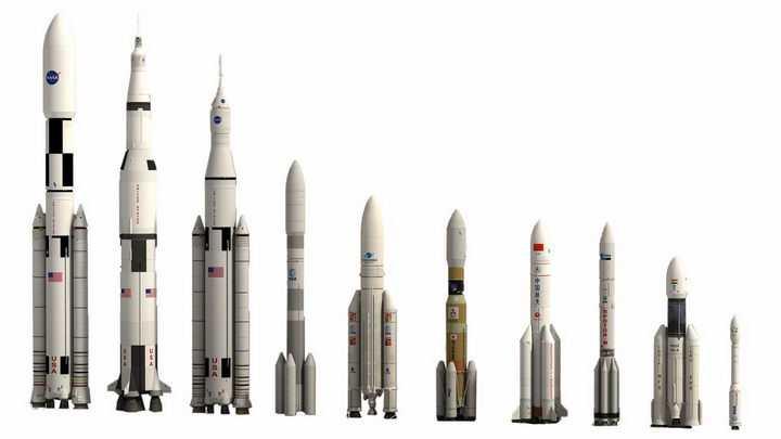 长征五号等世界主要运载火箭大小对比透明背景png免抠图片素材