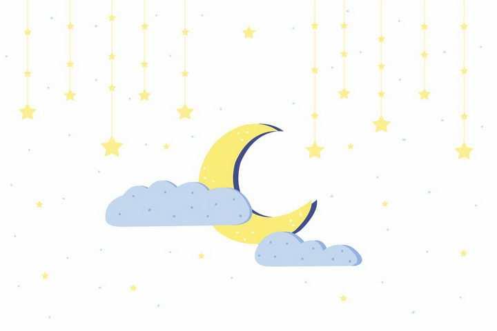 黄色的弯月和星星装饰png图片免抠矢量素材