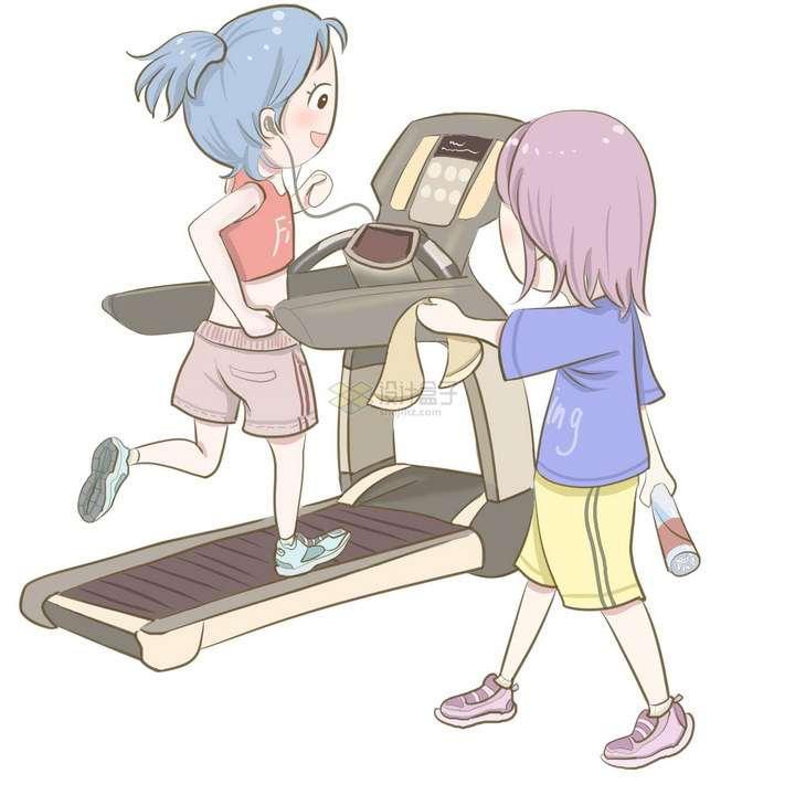 卡通女孩在跑步机上锻炼身体好朋友递上毛巾png图片免抠素材