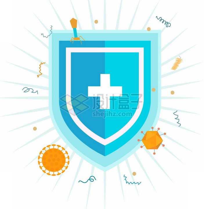 蓝色防护盾牌挡住了各种病毒png图片免抠素材