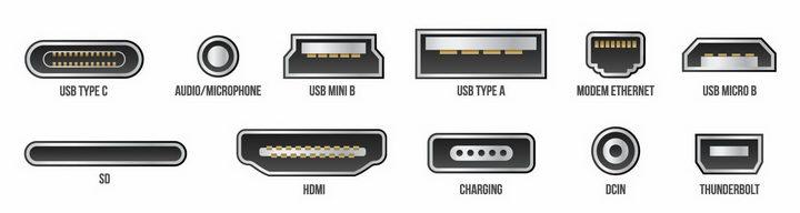 Type-C/USB/HDMI等电脑数据接口png图片免抠eps矢量素材 IT科技-第1张