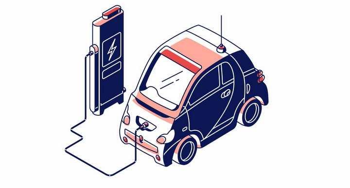 正在用充电桩充电的电动汽车png图片免抠矢量素材