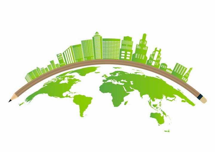 绿色世界地图和弧形铅笔上的绿色城市建筑天际线png图片免抠矢量素材
