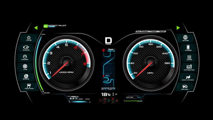 逼真酷炫的汽车仪表盘显示界面png图片免抠矢量素材 交通运输-第1张