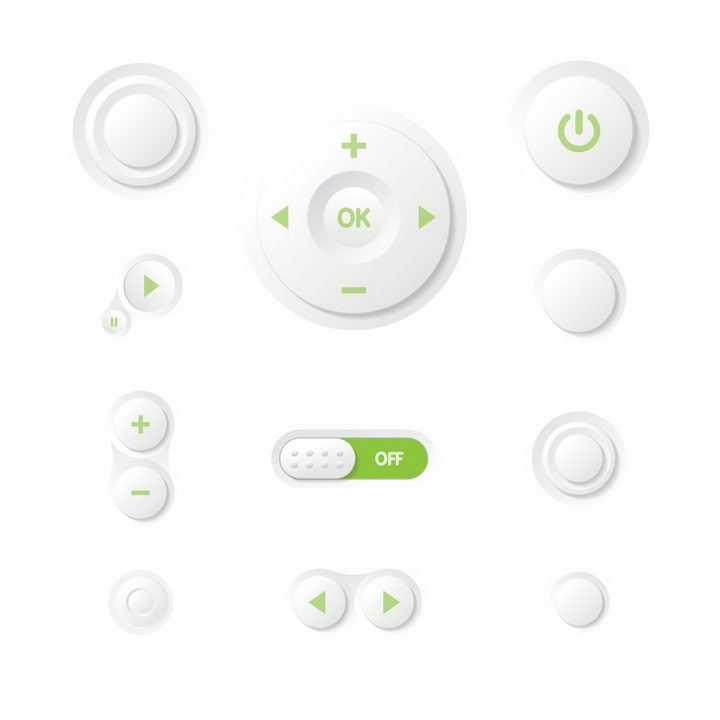唯美白色绿色音乐播放器上的播放和调节按钮png图片免抠矢量素材