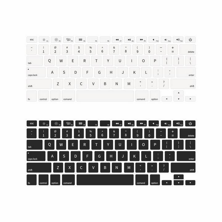 俯视视角的黑色和白色键盘布局png图片免抠矢量素材 IT科技-第1张
