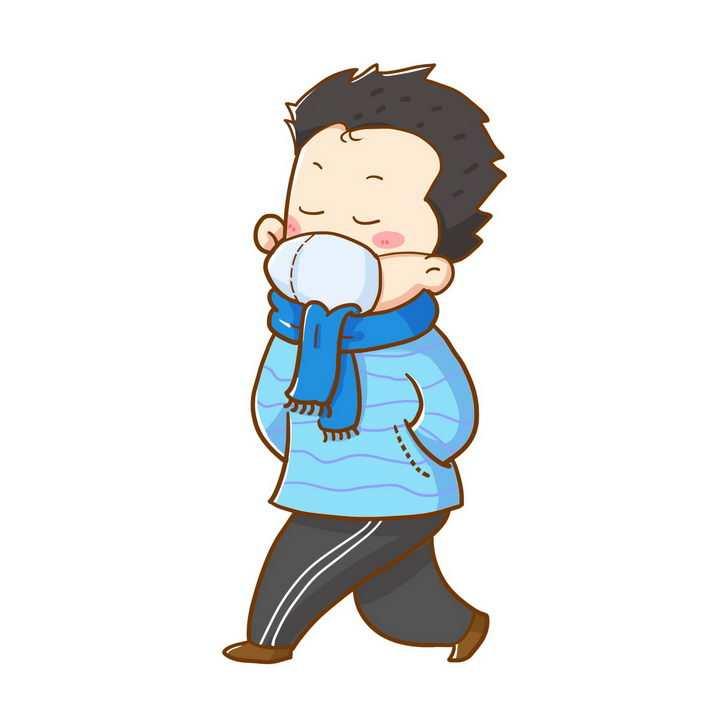 卡通男孩戴着口罩走路png图片免抠素材