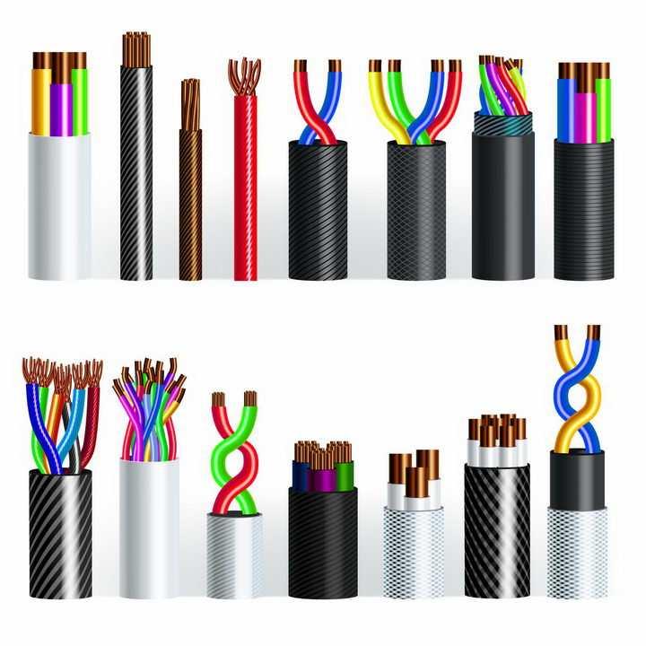 各种电线电缆剥开外皮露出里面的铜线结构png图片免抠eps矢量素材