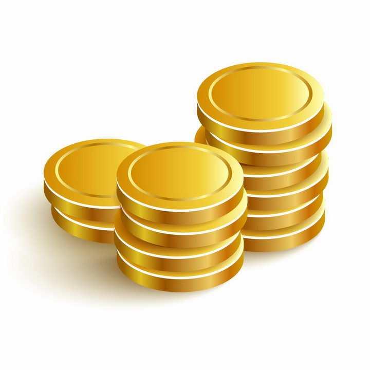 三堆空白的金币硬币png图片免抠矢量素材