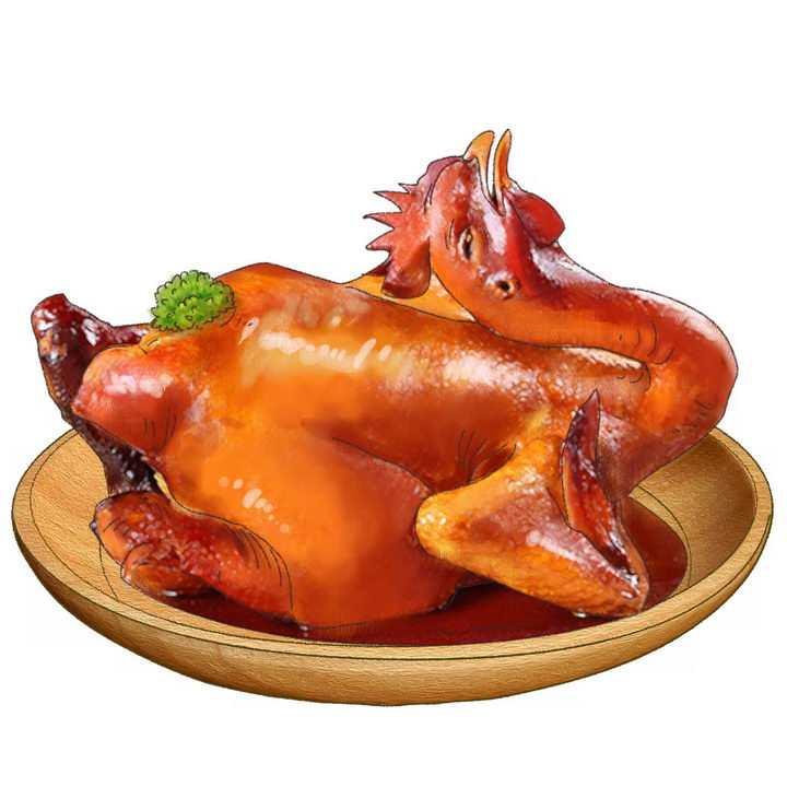 一盘逼真的烧鸡png图片免抠素材