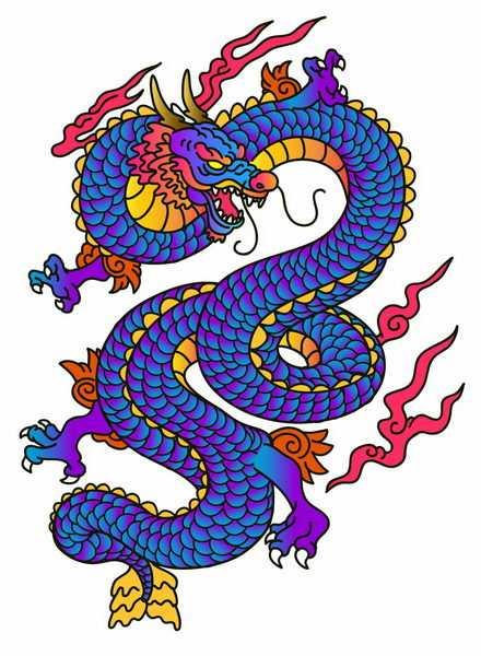 蓝紫色龙鳞的手绘中国龙png图片免抠矢量素材
