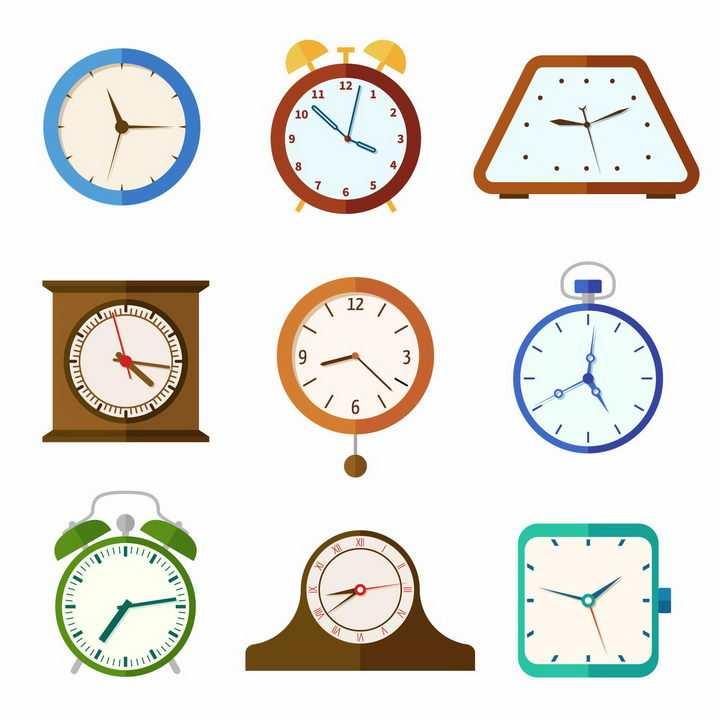 9款扁平化风格的钟表时钟挂钟闹钟png图片免抠矢量素材