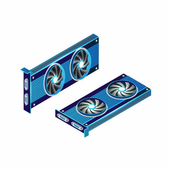 两款超炫的蓝色电脑显卡配件png图片免抠矢量素材 IT科技-第1张