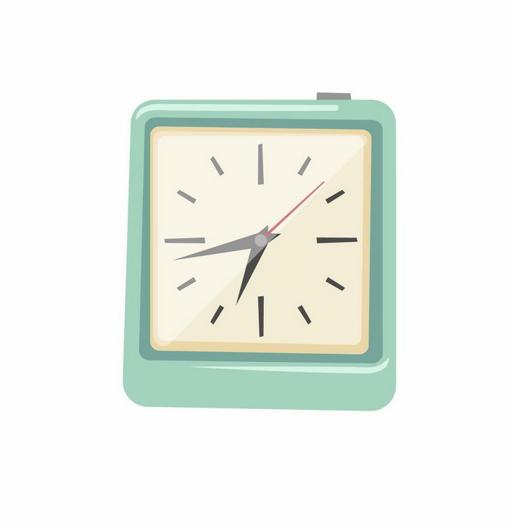 绿色方形卡通闹钟挂钟时钟时间png图片免抠矢量素材 生活素材-第1张