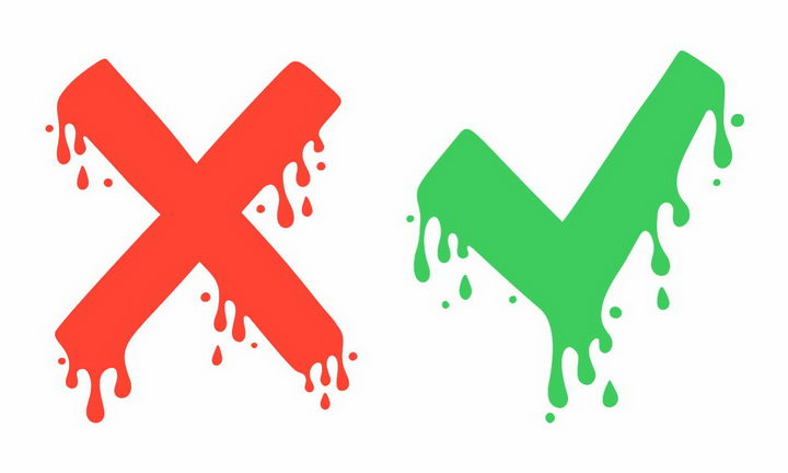 流淌的液体效果红色错号绿色对号png图片免抠矢量素材 装饰素材-第1张