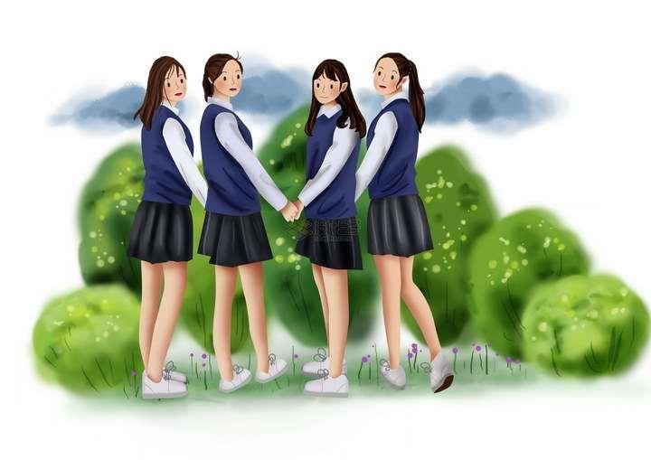 四个校服青春靓丽的美少女手拉手站在树丛中png图片免抠素材