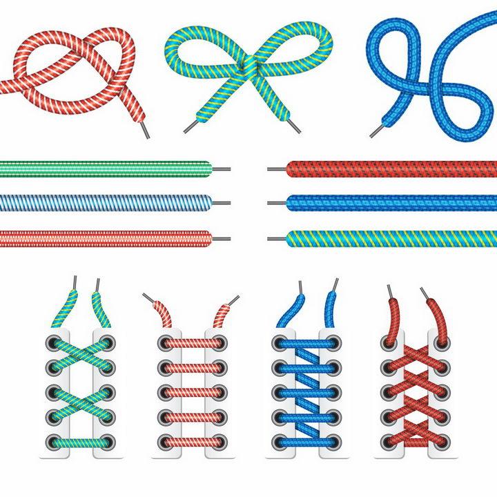 各种彩色鞋带蝴蝶结鞋带的系法图解png图片免抠eps矢量素材 生活素材-第1张