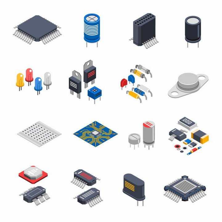 2.5D立体风格的集成电路电容器电阻器发光二极管等png图片免抠矢量素材