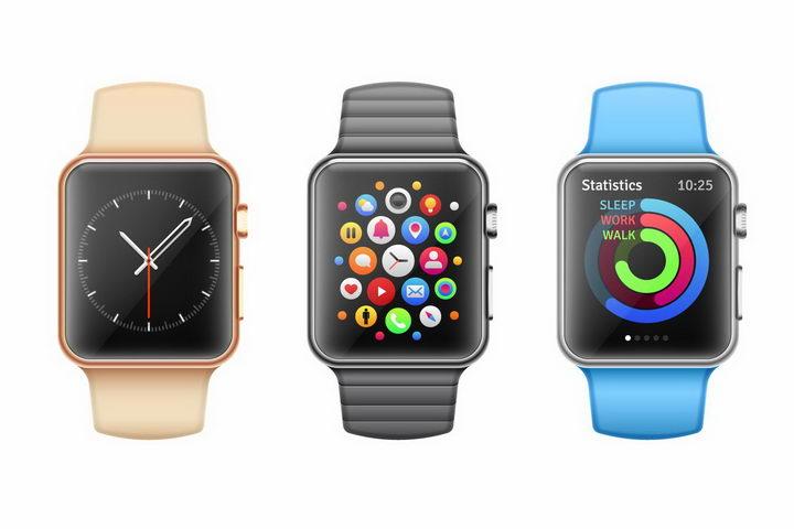 3种颜色表带的苹果智能手表iWatch png图片免抠矢量素材 IT科技-第1张