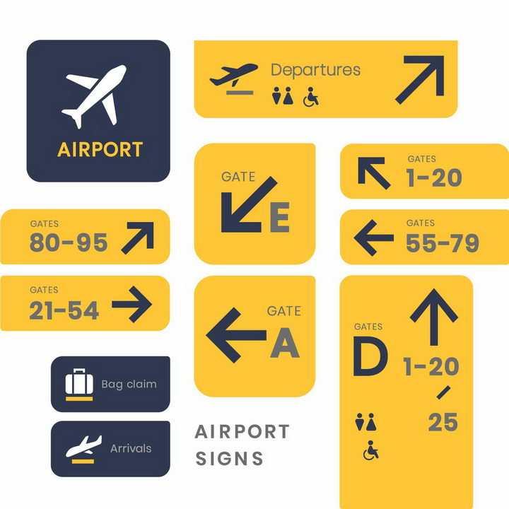 黄色机场机位停机坪位置指示牌png图片免抠矢量素材