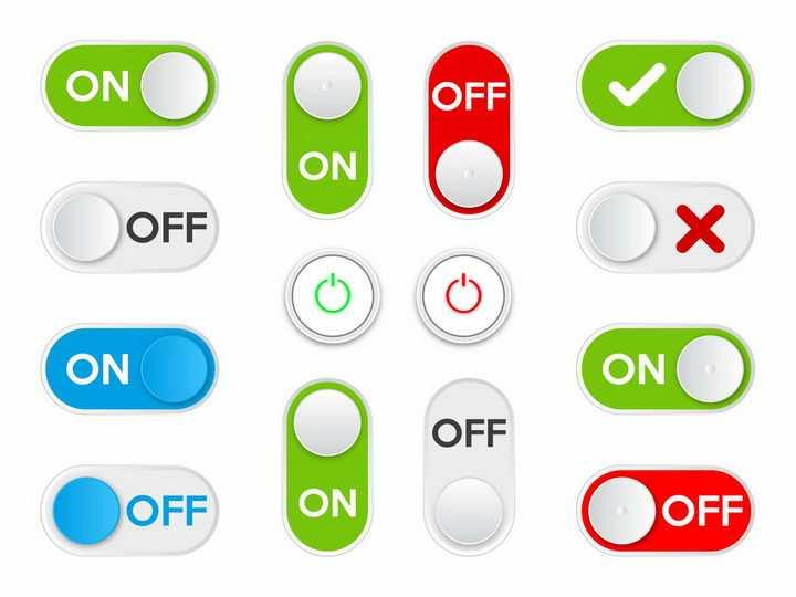 各种绿色蓝色红色的滑动开关按钮png图片免抠矢量素材