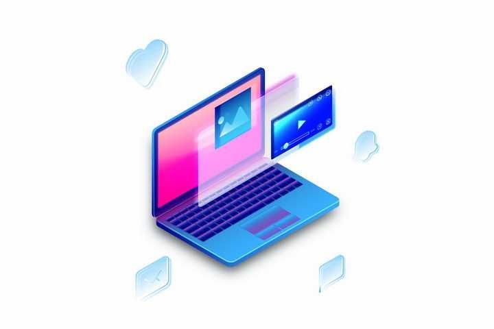 3D立体笔记本电脑和屏幕上分层视频播放器png图片免抠矢量素材