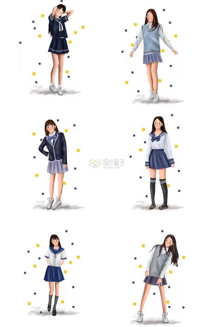 6款身穿水手服校服的青春美少女png图片免抠素材