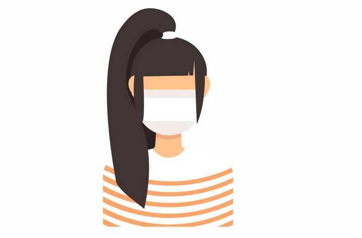 卡通马尾辫女孩戴着口罩png图片免抠矢量素材