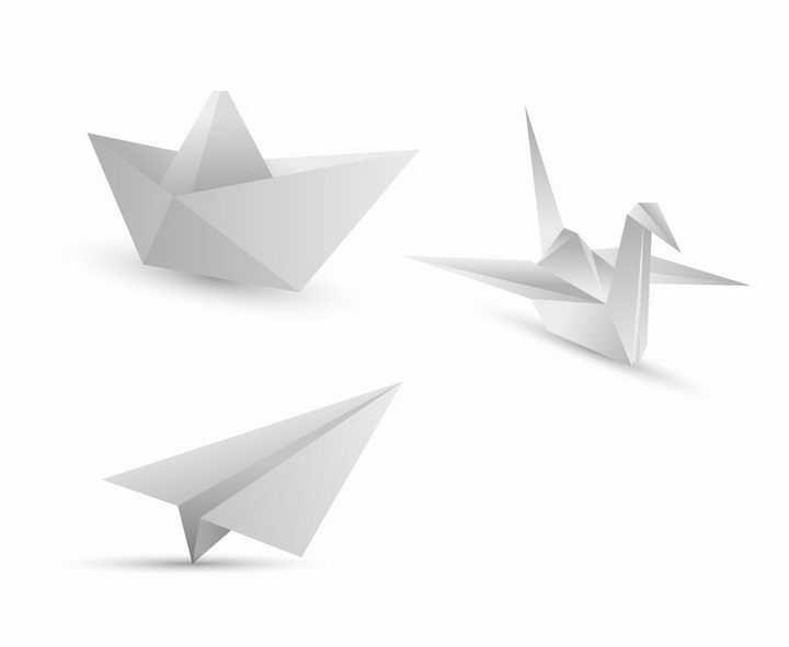 折纸船千纸鹤和纸飞机png图片免抠矢量素材