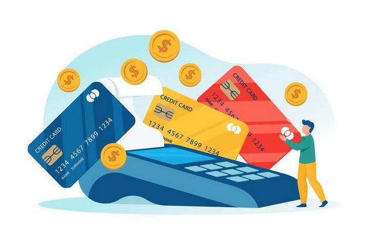 扁平插画风格在POS机上刷信用卡银行卡的年轻人png图片免抠矢量素材 金融理财-第1张
