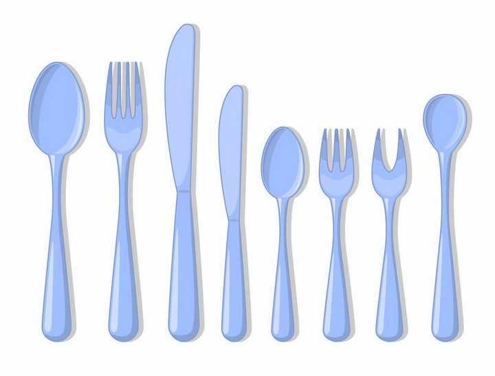 淡蓝色的勺子汤勺叉子餐刀餐具png图片免抠素材