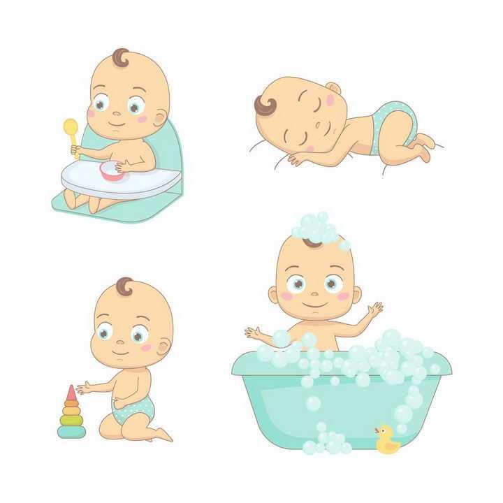 超可爱的卡通宝宝吃东西睡觉玩玩具和洗澡png图片免抠矢量素材