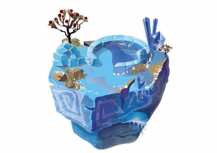 蓝色卡通水池水晶宝石悬空岛悬浮岛png图片免抠ai矢量素材