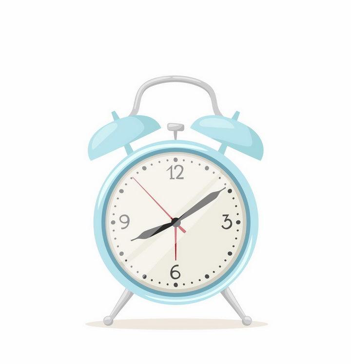 淡蓝色的卡通闹钟时钟时间png图片免抠矢量素材 生活素材-第1张