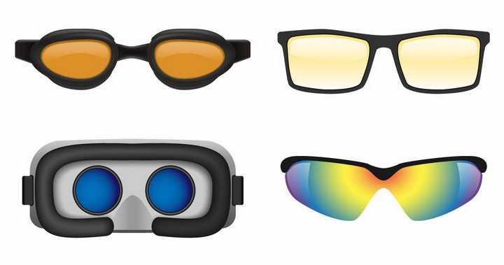 4款护目镜VR眼镜滑雪镜png图片免抠矢量素材
