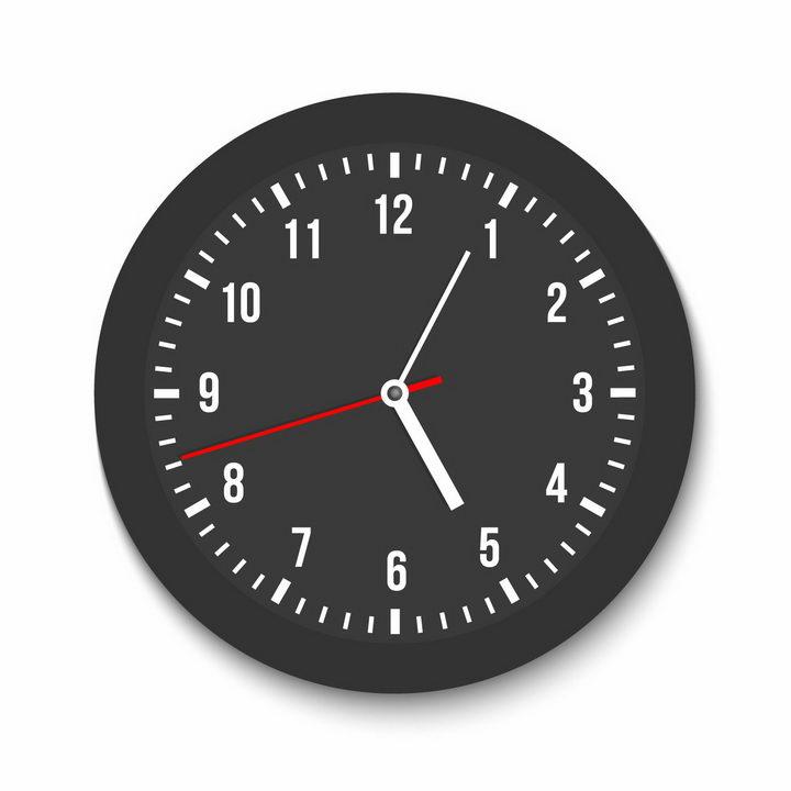 简约黑色表盘的钟表时钟png图片免抠矢量素材 生活素材-第1张