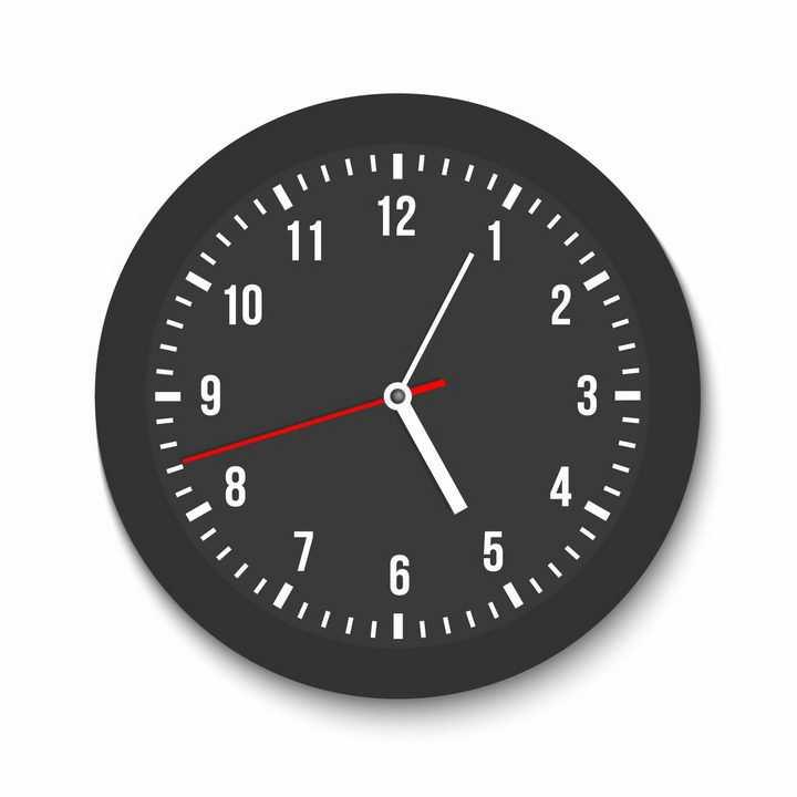 简约黑色表盘的钟表时钟png图片免抠矢量素材