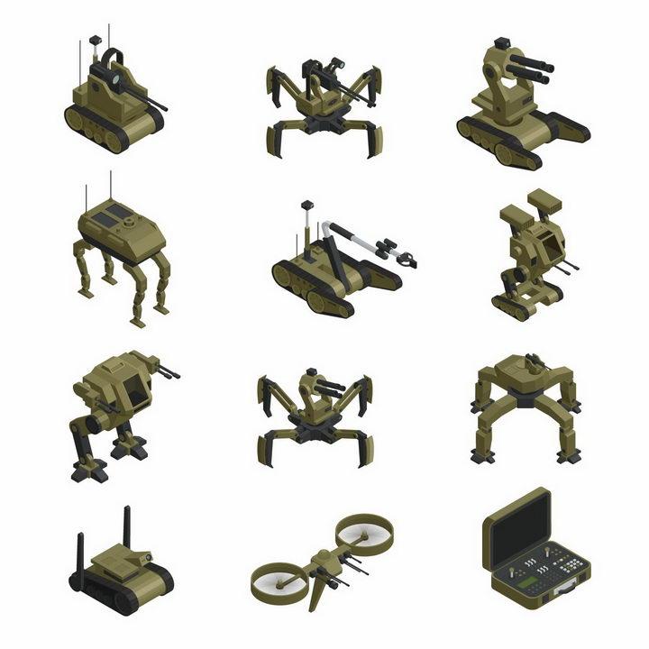 12款绿色涂装的战斗机器人武装无人机等军事机器人装备png图片免抠矢量素材 军事科幻-第1张