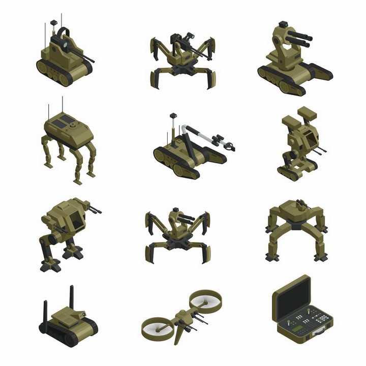 12款绿色涂装的战斗机器人武装无人机等军事机器人装备png图片免抠矢量素材