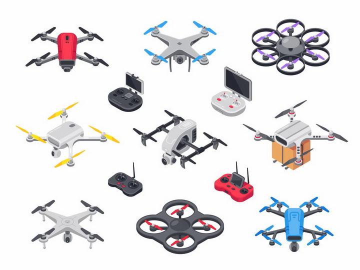 各种2.5D风格四轴无人机飞行器和遥控器航拍小飞机png图片免抠矢量素材 IT科技-第1张