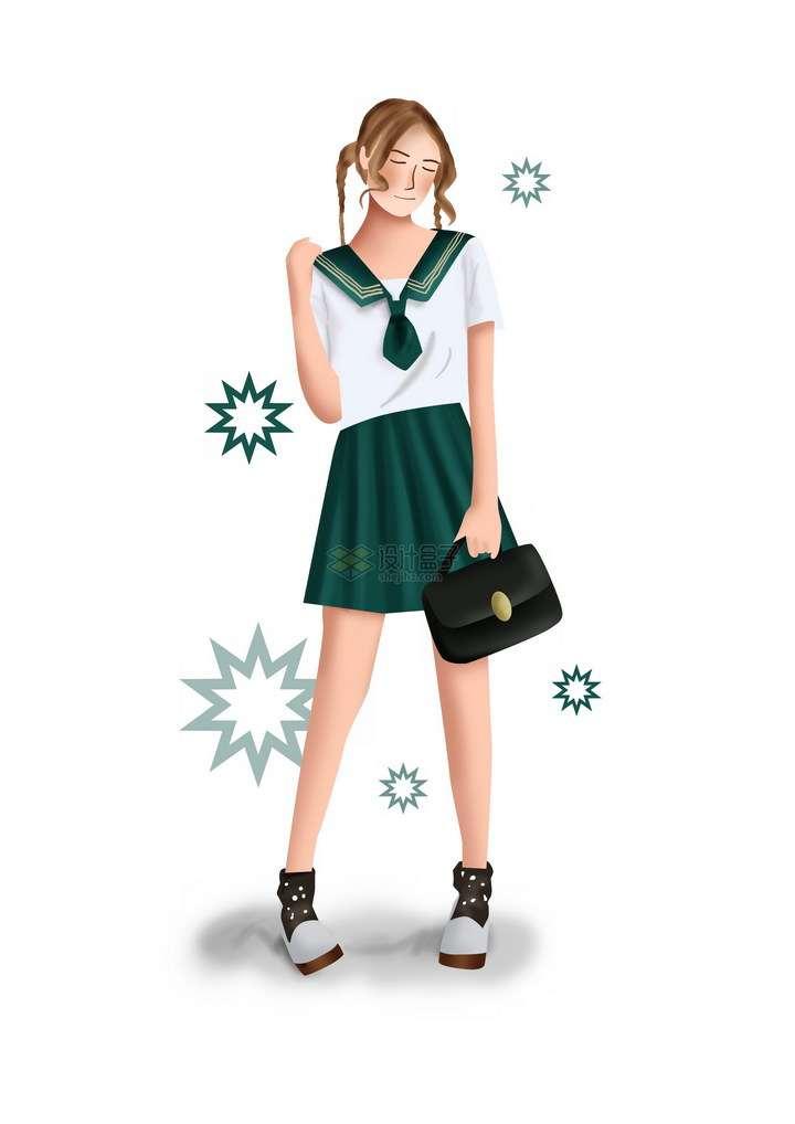 彩绘风格身穿水手服的青春美少女png图片免抠素材