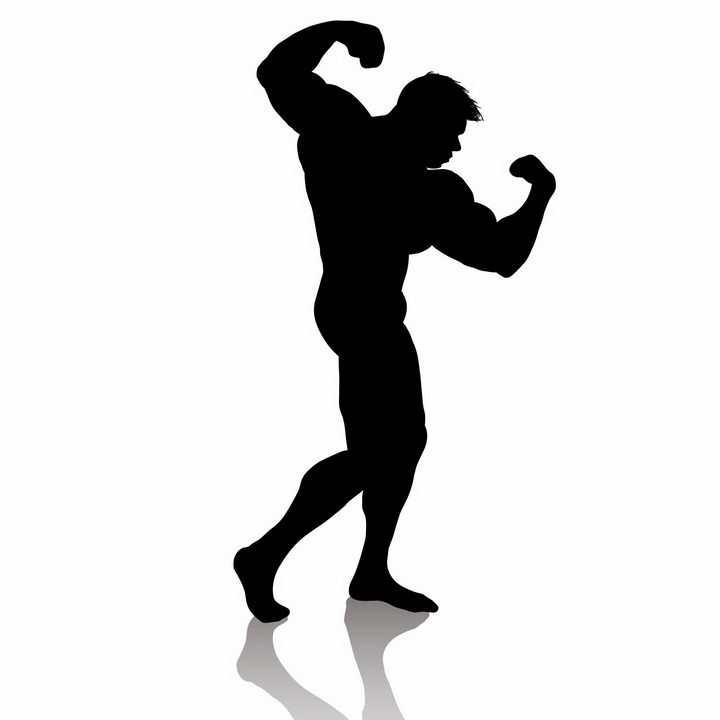 健美肌肉男剪影png图片免抠矢量素材
