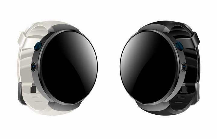 白色和黑色表带的圆形智能手表png图片免抠矢量素材