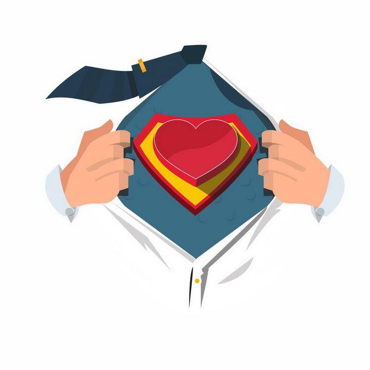 漫画风格扒开衣服露出红心超人标志象征了爱情png图片免抠eps矢量素材 节日素材-第1张