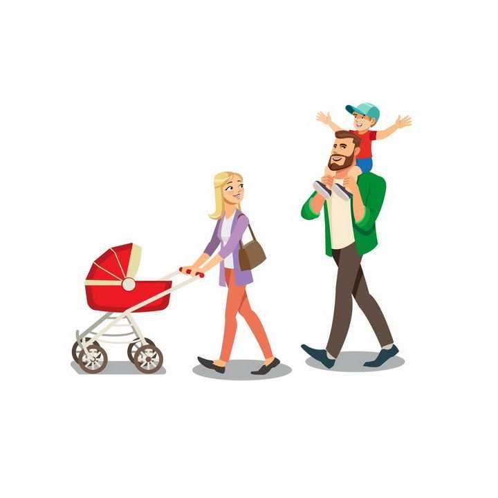 卡通风格推着婴儿车的妈妈和骑在爸爸脖子上的孩子其乐融融的一家人png图片免抠素材