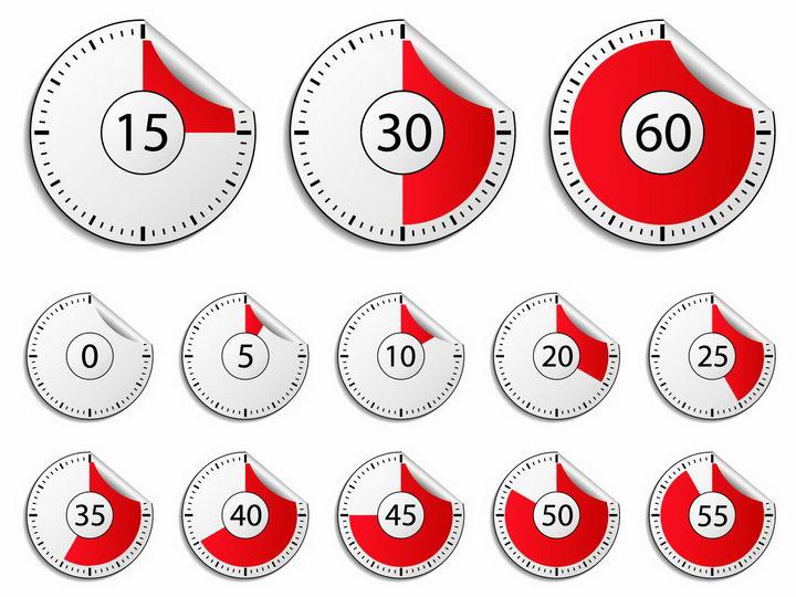 红色一分钟倒计时秒表贴纸表盘png图片免抠矢量素材 生活素材-第1张